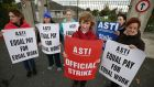 Staff at Loreto Secondary School, Bray, Co Wicklow stage industrial action. Photograph: Nick Bradshaw