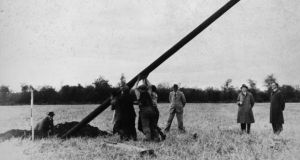 The first pole being erected at Kilsallaghan, Co Dublin, on November 5th, 1946. Photograph: ESB Archives