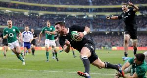 New Zealand's Ryan Crotty crosses the line to score late in the autumn international against Ireland at the Aviva Stadium in November 2013. Photograph: James Crombie/Inpho