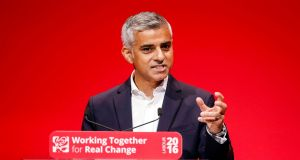 "London's Labour mayor, Sadiq Khan, said  failing to maintain access for UK banks to the EU market after Brexit would be an act of ""economic sabotage"" that would ripple across Britain. Photograph: PA"