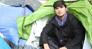 Rahman Safi (28), from a village in Afghanistan's Kapisa province, has been living outdoors near Jaures metro for 12 days. He plans to apply for asylum in France. Photograph: Lorraine Mallinder