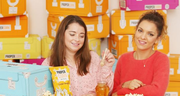 Propercorn founder Cassandra Stavrou with Ashling O'Carroll who dreamed up the popcornmaker's newest flavour. Photograph: Leon Farrell/Photocall Ireland