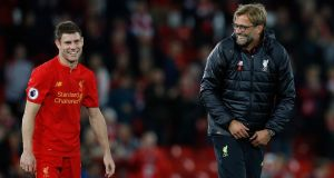 Liverpool manager Jurgen Klopp will hope to have James Milner available this weekend. Photograph: Phil Noble/PA