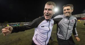 Dundalk manager Stephen Kenny celebrates winning the Premier League after victory over Bohemians at Oriel Park. Photograph: Ryan Byrne/Inpho