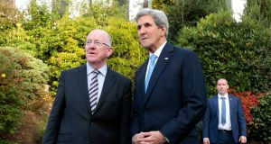 United States Secretary of State, John Kerry (right) meets Minister for Foreign Affairs  Charles Flanagan in Co Wicklow during a one-day visit to Ireland.
