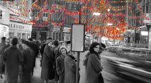 Christmas decorations on Grafton Street in 1961