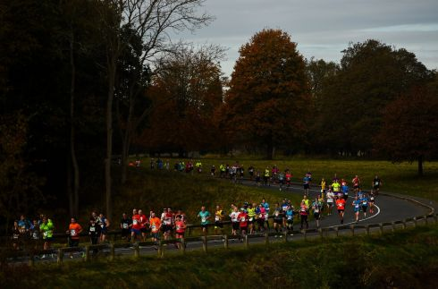 Runners make their way through Pheonix Park. Photograph: Ramsey Cardy/Sportsfile