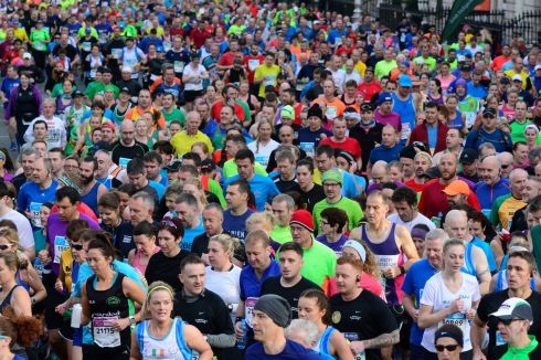 A group of runners  in the Dublin Marathon, where 20,000 runners took to the streets of the capital. Photograph: Cyril Byrne