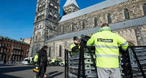 Security  preparations outside Lund Cathedral  ahead of the pope's visit. Photograph: Emil Langvad/EPA