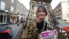 Towering figure: Michel Bach from Paris at the Dublin Marathon on Sunday. Photograph: Cyril Byrne