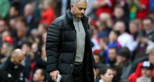 Manchester United manager José Mourinho during Saturday's 0-0 draw with Burnley at Old Trafford. Photograph: PA.