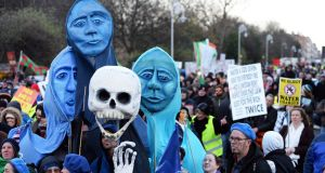 Water charges protesters take to the streets. Photograph: The Irish Times