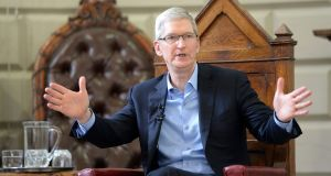 Apple chief executive   Tim Cook: the tech giant wants to build up to eight data halls on a 500-acre wooded site, currently owned by State agency Coillte, outside Athenry. Photograph: Eric Luke/The Irish Times