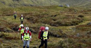 Members of Donegal Mountain Rescue on patrol: the volunteers operate on the barren moorlands and remote northwest coastline, conducting 35-50 search operations a year. Drone technology could aid their rescues.
