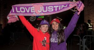 Justin Bieber fans Lucy Linnane and Jane Sicat, both from Tralee, Co Kerry Tralee, at the  3Arena, Dublin. Photograph: Gareth Chaney/Collins