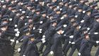 Gardaí march during a graduation ceremony at the Garda College, Templemore. File photograph: Brenda Fitzsimons/The Irish Times