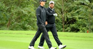 Belgium's Thomas Pieters with Shane Lowry during a mixed tournament for the Offaly man at the WGC-HSBC Champions at Sheshan International Golf Club, Shanghai, China. Photograph: Scott Halleran/Getty Images