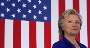 Hillary Clinton: in polls she was given a 68 per cent chance of victory, 14 per centage points less than estimated before an announcement that the FBI had reopened an email investigation. Photograph: Reuters