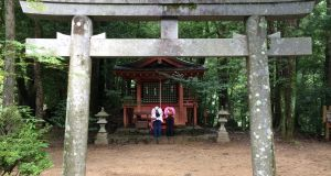 Wayside Shinto shrines on the Nakahechi route of the Kumano Kodo ancient pilgrimage trail