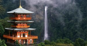 The 133m Nachi-no-Otaki – Japan's highest waterfall – seen from Nachi Taisha grand shrine at the end of the Kumano Kodo pigrimage route