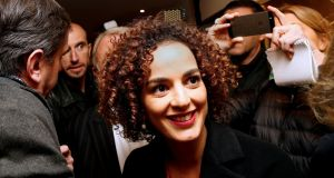Moroccan-French author Leila Slimani arrives at the Drouant restaurant after she received the Prix Goncourt, in Paris, France, today. Photograph: Jacky Naegelen/Reuters