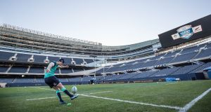 Ireland's Johnny Sexton practices his kicking at Soldier Field in Chicago ahead of the November Test against the All Blacks. Photo: Dan Sheridan/Inpho