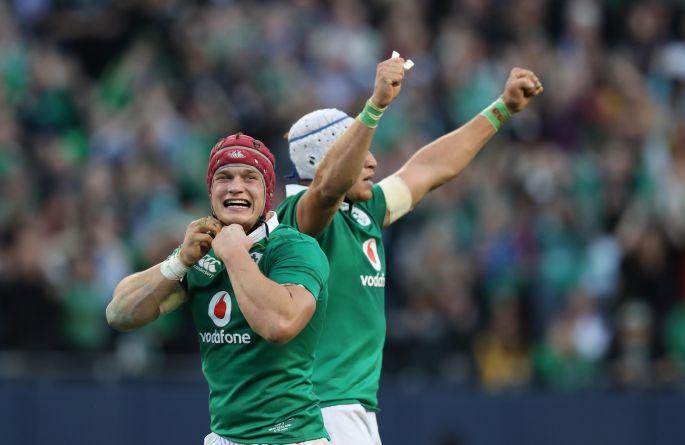 Ireland's Josh van der Flier celebrates winning. Photo: Billy Stickland/Inpho