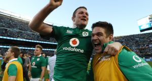 Donnacha Ryan (centre)  celebrates following Ireland's 40-29 victory over the All Blacks. Photograph: Getty