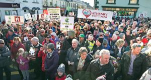Some of the 2,000 people who marched in Athenry on Sunday in support of Apple's data centre project. Photograph: Joe O'Shaughnessy
