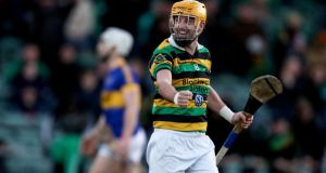 Glen Rovers' Donal Cronin celebrates at the final whistle of the AIB Munster Senior Club Hurling Championship semi-final against Patrickswell at the Gaelic Grounds. Photograph: Tommy Dickson/Inpho