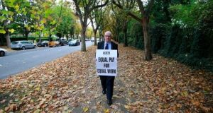 ASTI president Ed Byrne at a protest outside Dominican College in Dublin 9 earlier in October. Photograph: Nick Bradshaw