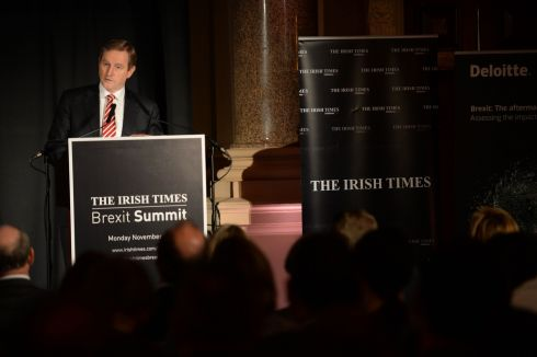Taoiseach Enda Kenny speaks at 'The Irish Times' Brexit Summit, at The Westin Hotel, Dublin. Photograph: Dara Mac Dónaill/The Irish Times