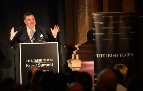 John Mullins, CEO of Amarenco, speaks at 'The Irish Times' Brexit Summit. Photograph: Dara Mac Dónaill/The Irish Times