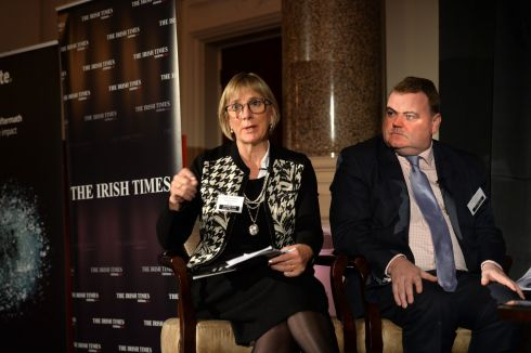 Julie Sinnamon, CEO of Enterprise Ireland, and John Mullins, CEO of Amarenco, at 'The Irish Times' Brexit Summit. Photograph: Dara Mac Dónaill/The Irish Times