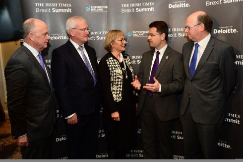 James Brokenshire, Liam Kavanagh, David Carson, Julie Sinnamon, and Kevin O'Sullivan, Editor of 'The Irish Times', at the summit. Photograph: Dara Mac Dónaill/The Irish Times
