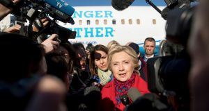 Democratic presidential candidate Hillary Clinton:  following the FBI announcement, at least three polls on Monday showed  Clinton was in the lead over Republican Donald Trump, calming nerves about the economic uncertainties which a Trump presidency would bring. Photograph: Andrew Harnik/AP