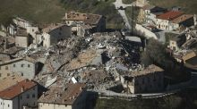 An aerial view of the destruction caused in the village of Castelluccio in central Italy by a 6.5 magnitude earthquake in October. Photograph: Getty Images