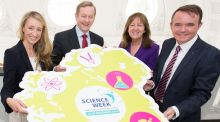 Science Week appeal,  from left: Dr Ruth Freeman, Director of Strategy and Communications for Science Foundation Ireland; An Taoiseach, Enda Kenny; Evelyn Cusack, RTÉ weather presenter; Barry O'Sullivan, chief executive of Altocloud and RTÉ Dragon, along with Science Foundation Ireland are calling on businesses, communities and professionals to take part in Science Week 2016 from November 13th-20th. Photograph: Naoise Culhane