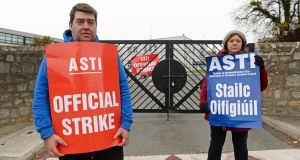 ASTI on the picket line outside Monkstown Park College in Dublin.  Photograph: Eric Luke.