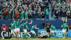 Ireland celebrate Robbie Henshaw's try at Soldier Field in Chicago.  Photo: Kamil Krzaczynski/AP Photo
