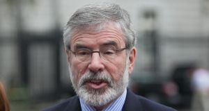 Gerry Adams said Sinn Féin's four MPs will not take their Westminster seats for Brexit vote. Photograph: Gareth Chaney Collins