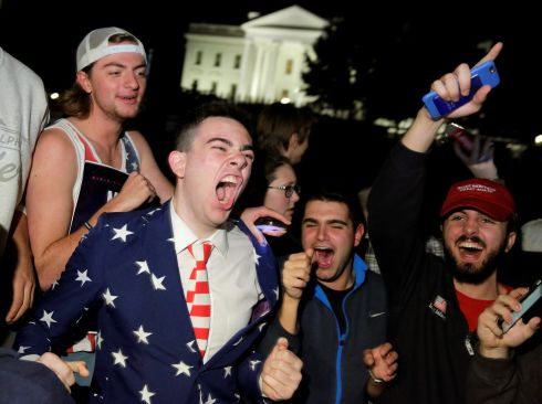 Supporters of Republican presidential nominee Donald Trump rally in front of the White House in Washington DC, U.S.   Photograph: Joshua Roberts / Reuters