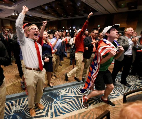 Supporters of U.S. Republican candidate Donald Trump celebrate after the networks called their candidate's victory in the state of North Carolina, at Republican Governor Pat McCrory's election-night party in Raleigh, North Carolina.  Photograph: Jonathan Drake / Reuters