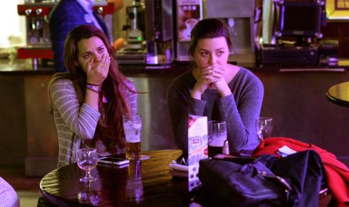 Julie Bowman, Florida and Kelsey Chase, Virginia, (right) as Democrats Abroad group watch the US Presidential Election results come in at the Arlington Hotel, in Dublin. Photograph: Dara Mac Donaill / The Irish Times