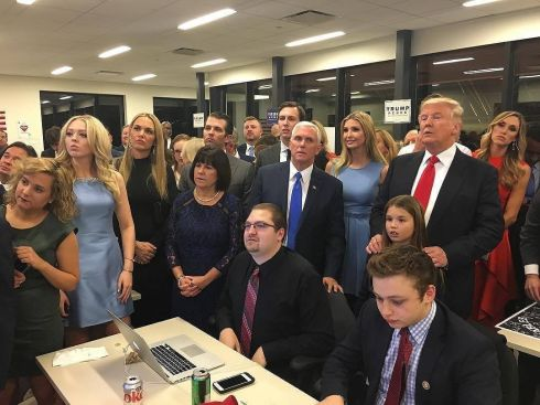 In this Instagram picture posted by Donald Trump Junior, US presidential candidate Donald Trump watches election results with family and supporters  Photograph: Donald Trump Jr/Instagram/PA