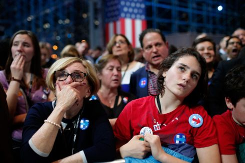People watch voting results at Democratic presidential nominee Hillary Clinton's election night event  in New York City.  Photograph: Photo by Win McNamee/Getty Images