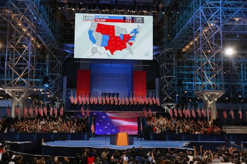 A map of the election results is displayed on a screen at the Javits Center, where Hillary Clinton is hosting her election night event in New York.  Photograph: Chang W. Lee / The New York Times