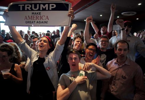 Supporters of U.S Republican Presidential candidate Donald Trump react as a state is called in his favour, as students watch the live results of the U.S. presidential election, at the University of Sydney in Australia.   Photograph: Jason Reed / Reuters
