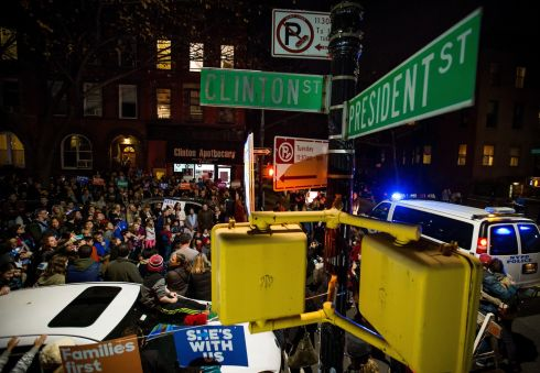 Supporters of Hillary Clinton attend a 2016 U.S. presidential election night watch party at the corner of President and Clinton Street in the Brooklyn borough of New York.  Photograph: Michael Nagle/Bloomberg