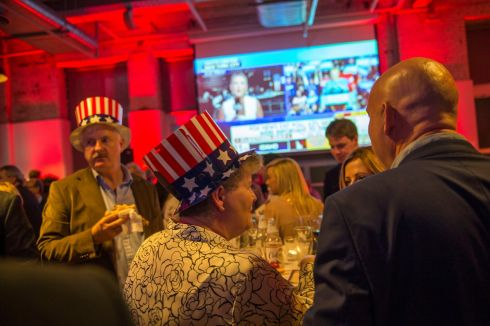 Guests at the viewing party for Election Night 2016 hosted by The Embassy of the United States of America  at the Guinness Storehouse, St James Gate, Dublin.  Photograph: Dara Mac Donaill / The Irish Times